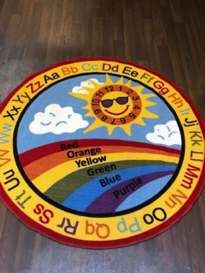 NEW SUN CHILDREN'S LEARNING CIRCLE 133X133CM MAT RUG SCHOOL HOME MULTICOLOUR